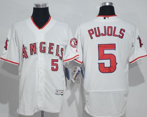 Angels of Anaheim #5 Albert Pujols White Flexbase Authentic Collection Stitched MLB Jersey
