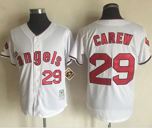 Mitchell and Ness Angels of Anaheim #29 Rod Carew White Stitched MLB Jersey