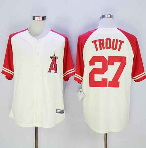Angels of Anaheim #27 Mike Trout Cream/Red Exclusive New Cool Base Stitched MLB Jersey