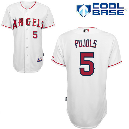 Angels of Anaheim #5 Albert Pujols White Cool Base Stitched MLB Jersey
