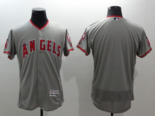 Angels of Anaheim Blank Grey Flexbase Authentic Collection Stitched MLB Jersey