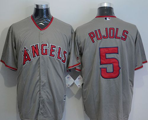 Angels of Anaheim #5 Albert Pujols Grey New Cool Base Stitched MLB Jersey