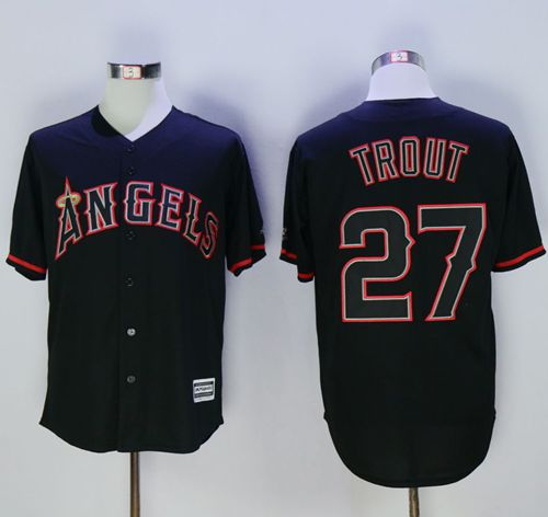 Angels of Anaheim #27 Mike Trout Black New Cool Base Fashion Stitched MLB Jersey