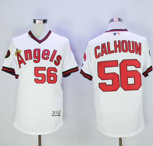 Angels of Anaheim #56 Kole Calhoun White Flexbase Authentic Collection Cooperstown Stitched MLB Jersey