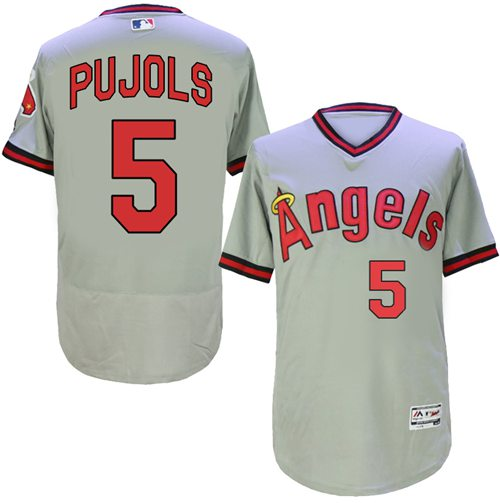 Angels of Anaheim #5 Albert Pujols Grey Flexbase Authentic Collection Cooperstown Stitched MLB Jersey