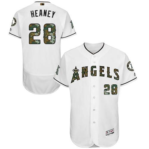 Angels of Anaheim #28 Andrew Heaney White Flexbase Authentic Collection Memorial Day Stitched MLB Jersey