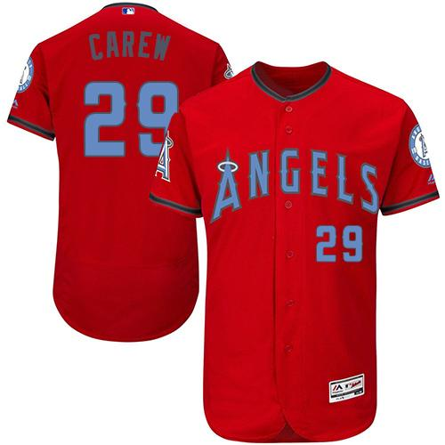 Angels of Anaheim #29 Rod Carew Red Flexbase Authentic Collection Father's Day Stitched MLB Jersey