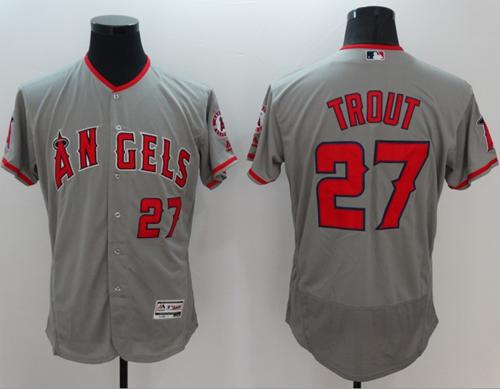 Angels of Anaheim #27 Mike Trout Grey Flexbase Authentic Collection Stitched MLB Jersey