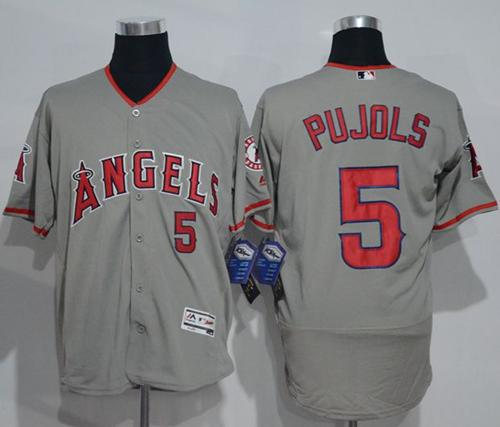 Angels of Anaheim #5 Albert Pujols Grey Flexbase Authentic Collection Stitched MLB Jersey
