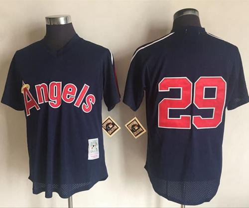 Mitchell And Ness 1984 Angels of Anaheim #29 Rod Carew Navy Blue Throwback Stitched MLB Jersey