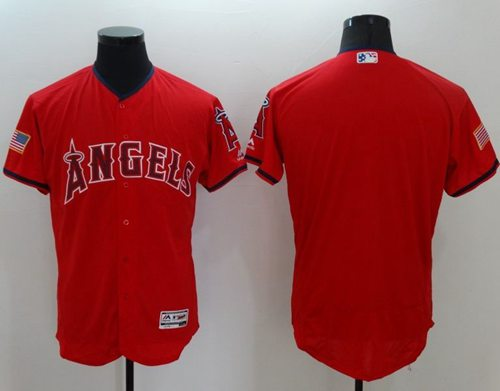 Angels of Anaheim Blank Red Fashion Stars & Stripes Flexbase Authentic Stitched MLB Jersey