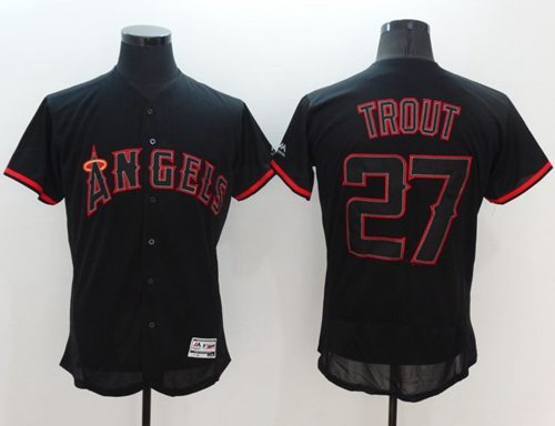 Angels of Anaheim #27 Mike Trout Black Fashion Flexbase Authentic Collection Stitched MLB Jersey