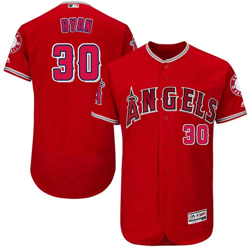 Angels of Anaheim #30 Nolan Ryan Red Flexbase Authentic Collection Stitched MLB Jersey