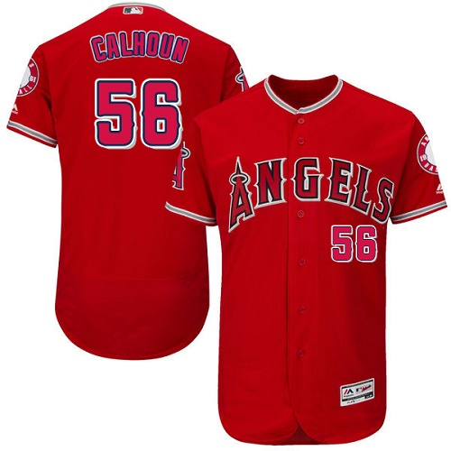 Angels of Anaheim #56 Kole Calhoun Red Flexbase Authentic Collection Stitched MLB Jersey