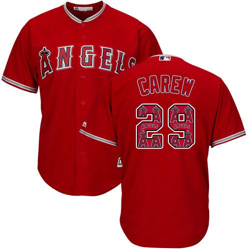 Angels of Anaheim #29 Rod Carew Red Team Logo Fashion Stitched MLB Jersey
