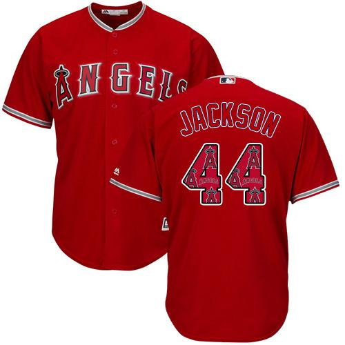 Angels of Anaheim #44 Reggie Jackson Red Team Logo Fashion Stitched MLB Jersey