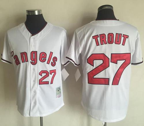 Mitchell And Ness Angels of Anaheim #27 Mike Trout White Throwback Stitched MLB Jersey