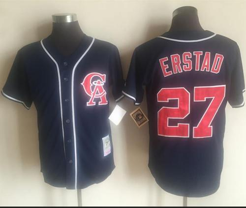 Mitchell And Ness Angels of Anaheim #27 Darin Erstad Navy Blue Throwback Stitched MLB Jersey