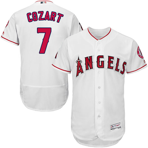 Angels of Anaheim #7 Zack Cozart White Flexbase Authentic Collection Stitched MLB Jersey