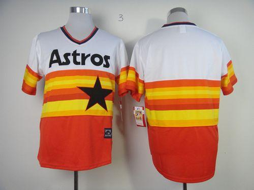 Mitchell And Ness Astros Blank White/Orange Stitched Throwback MLB Jersey