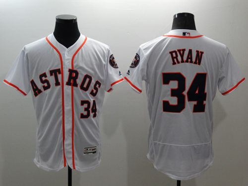 Astros #34 Nolan Ryan White Flexbase Authentic Collection Stitched MLB Jersey