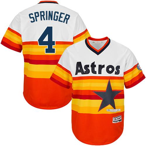 Astros #4 George Springer White/Orange Flexbase Authentic Collection Cooperstown Stitched MLB Jersey