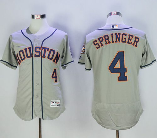 Astros #4 George Springer Grey Flexbase Authentic Collection Stitched MLB Jersey