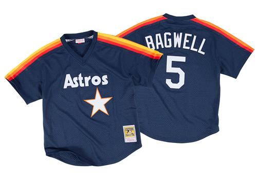 Mitchell And Ness 1991 Astros #5 Jeff Bagwell Navy Blue Throwback Stitched MLB Jersey