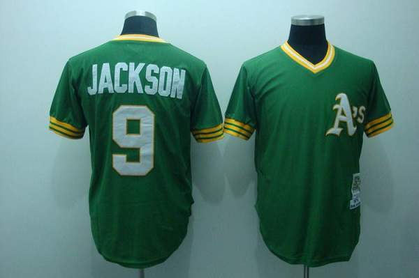 Mitchell and Ness Athletics #9 Reggie Jackson Stitched Green Throwback MLB Jersey