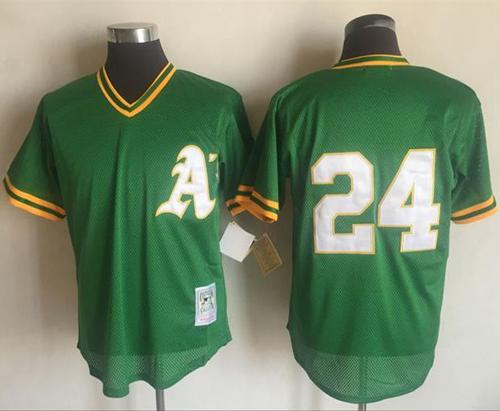 Mitchell And Ness 1991 Athletics #24 Rickey Henderson Green Throwback Stitched MLB Jersey
