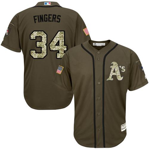 Athletics #34 Rollie Fingers Green Salute to Service Stitched MLB Jersey