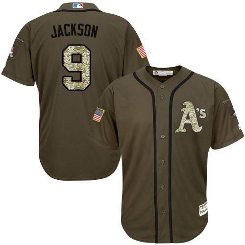 Athletics #9 Reggie Jackson Green Salute to Service Stitched MLB Jersey