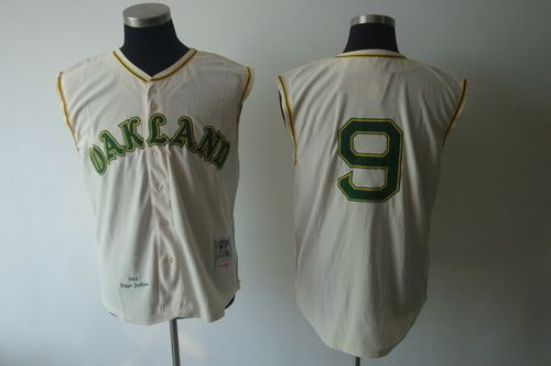 Mitchell And Ness 1968 Athletics #9 Reggie Jackson Cream Throwback Stitched MLB Jersey