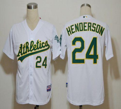 Athletics #24 Rickey Henderson White Cool Base Stitched MLB Jersey