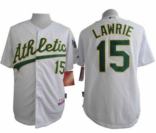 Athletics #15 Brett Lawrie White Cool Base Stitched MLB Jersey