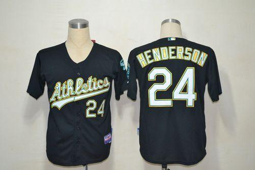 Athletics #24 Rickey Henderson Black Cool Base Stitched MLB Jersey