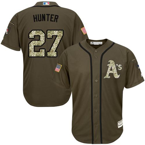 Athletics #27 Catfish Hunter Green Salute to Service Stitched MLB Jersey