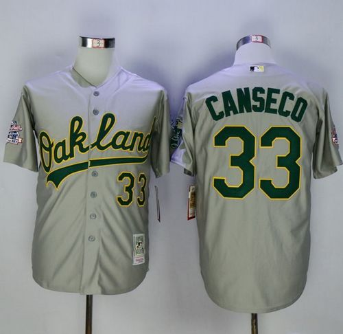 Mitchell And Ness Athletics #33 Jose Canseco Grey Throwback Stitched MLB Jersey