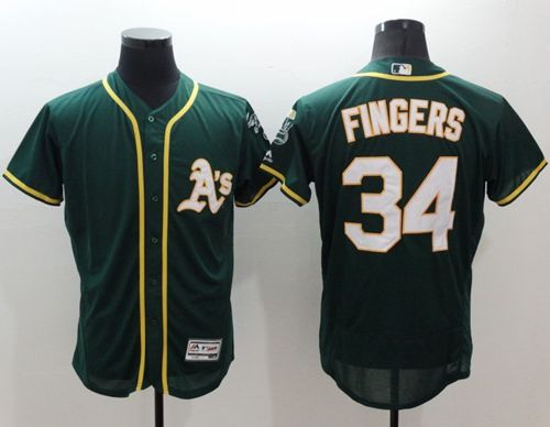 Athletics #34 Rollie Fingers Green Flexbase Authentic Collection Stitched MLB Jersey