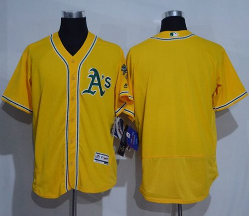 Athletics Blank Gold Flexbase Authentic Collection Stitched MLB Jersey