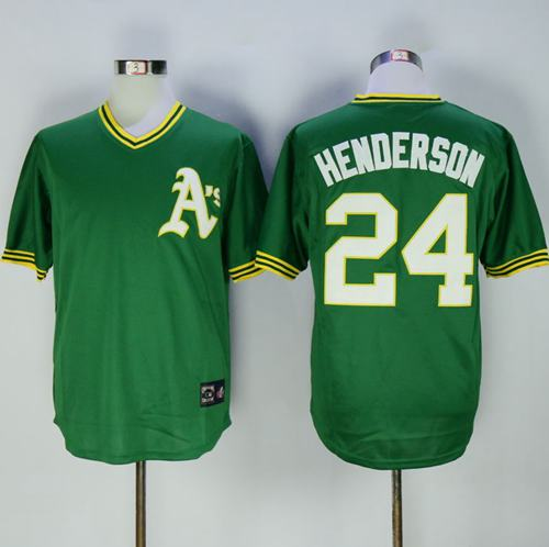 Mitchell And Ness Athletics #24 Rickey Henderson Green Throwback Stitched MLB Jersey