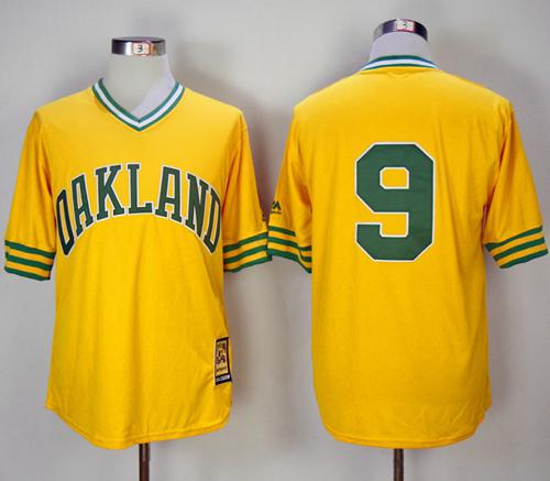 Mitchell And Ness 1981 Athletics #9 Reggie Jackson Yellow Throwback Stitched MLB Jersey