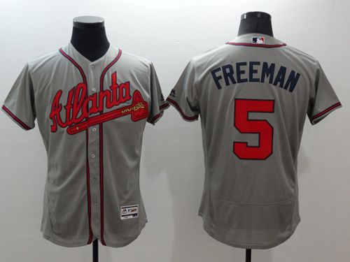 Braves #5 Freddie Freeman Grey Flexbase Authentic Collection Stitched MLB Jersey