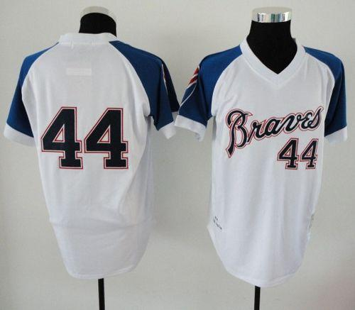 Mitchell And Ness 1974 Braves #44 Hank Aaron White Throwback Stitched MLB Jersey