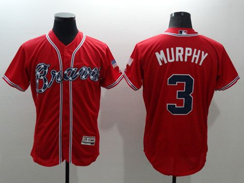 Braves #3 Dale Murphy Red Flexbase Authentic Collection Stitched MLB Jersey