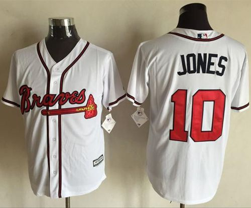 Braves #10 Chipper Jones White New Cool Base Stitched MLB Jersey