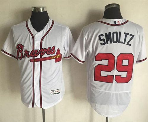 Braves #29 John Smoltz White Flexbase Authentic Collection Stitched MLB Jersey