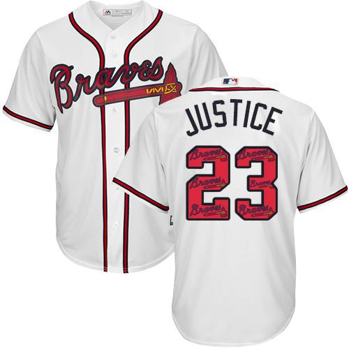 Braves #23 David Justice White Team Logo Fashion Stitched MLB Jersey