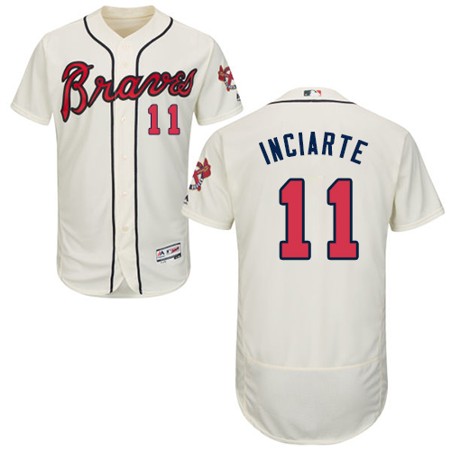 Braves #11 Ender Inciarte Cream Flexbase Authentic Collection Stitched MLB Jersey