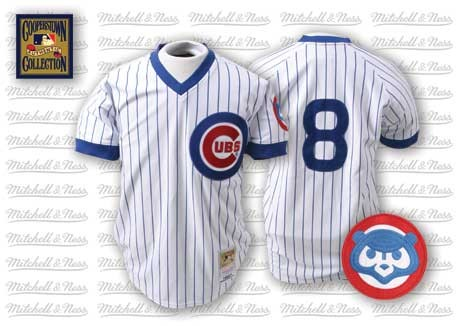 Mitchell and Ness 1987 Cubs #8 Andre Dawson Stitched White Blue Strip Throwback MLB Jersey